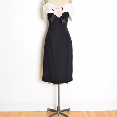 vintage 80s dress VICTOR COSTA black off shoulder lace rose cocktail party M clothing by huncamuncavintage