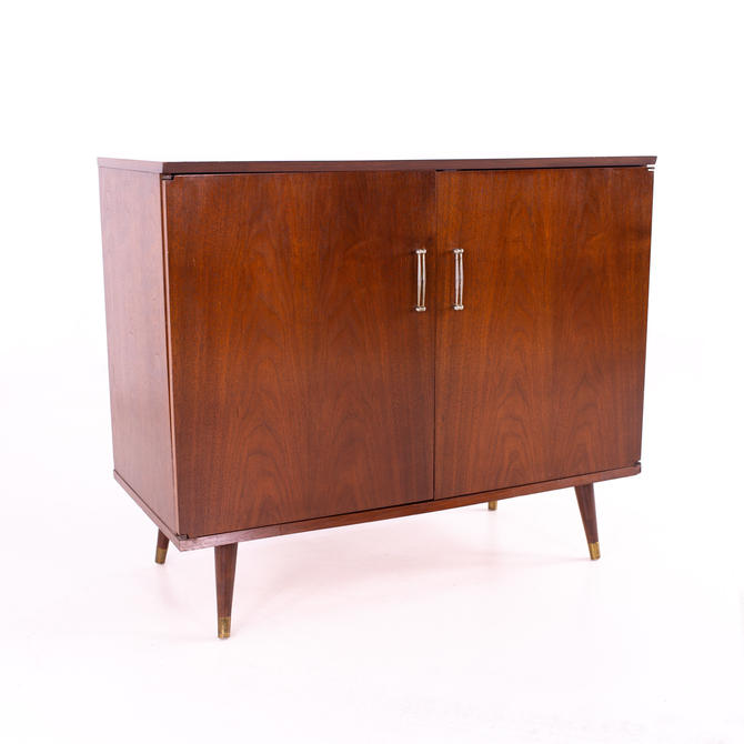 Gambler Johnson Mid Century Walnut and Brass Record Console - mcm by ModernHill