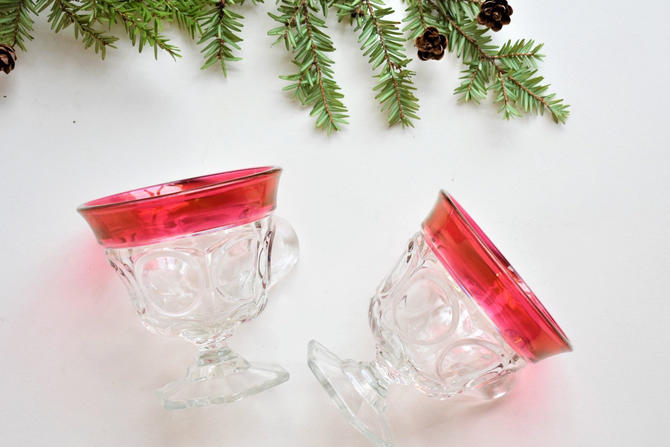 Vintage Tea Cup | Clear Punch Cup w/ Ruby Flashing | Six-Sided Base w/ Ovals Pattern | Tiffin Fostoria ndiana Glass Style Pressed Glass Mugs by LostandFoundHandwrks
