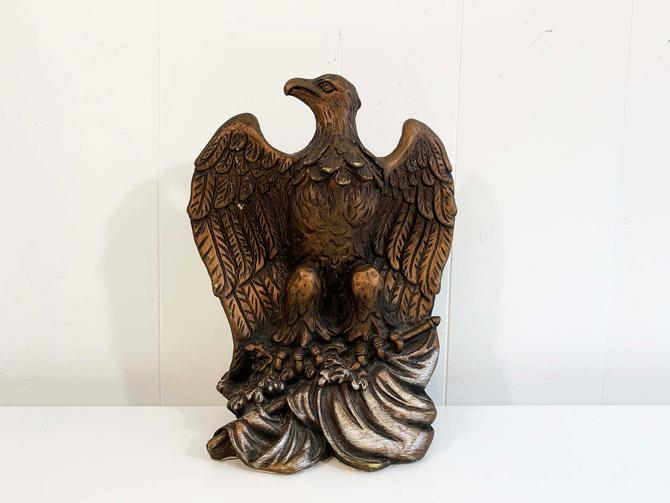 True Vintage Universal Statuary Corp Chalkware Copper Bronze Eagle Bookend 1960s 60s 1966 #319 Americana Mantique Office by CheckEngineVintage