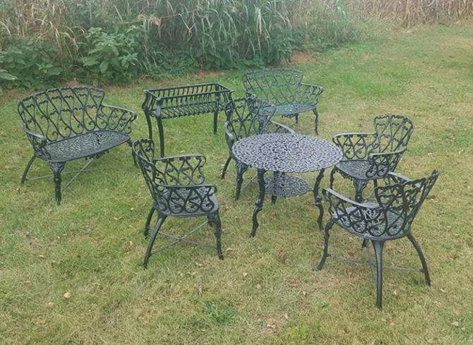 Patio Table and 4 Chairs, Two Benches, One Plant Rack.