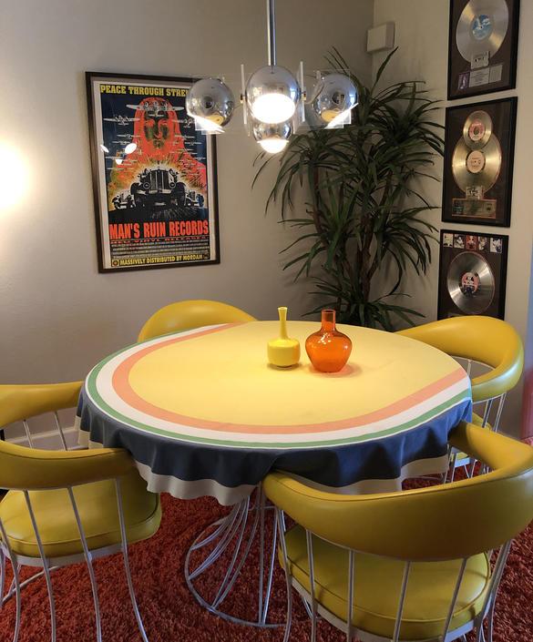Mod Bob Van Allen Tablecloth Round Oval Vintage 60s 70s