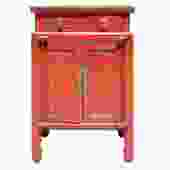 Distressed Oriental Red Solid Wood End Table Nightstand cs5131S