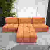 Orange Creamsicle 4-Part Sectional Sofa