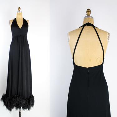 70s Stunning Marabou Black Maxi Dress / Open Back Dress / Black Maxi Dress / Cocktail Dress / Feather Dress / Halter Dress / VLV Bombshell by PARASOLvintage
