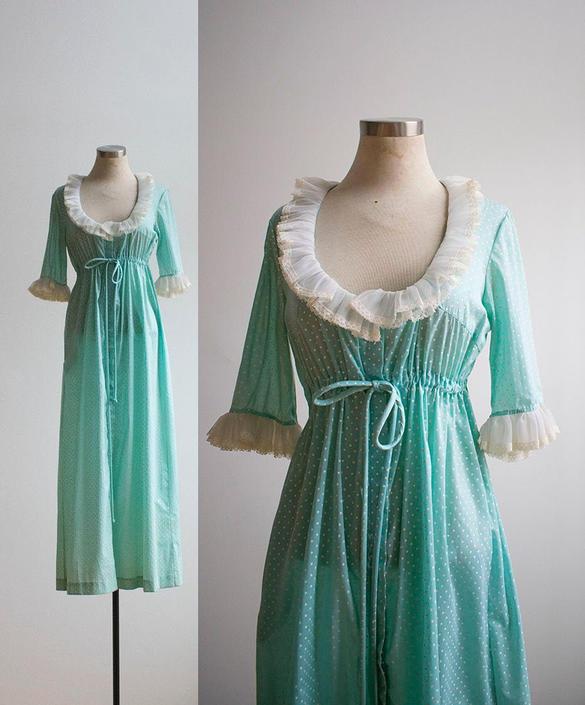 Vintage 1970s Nightgown / Vintage 1970s Gown / Mint Green Polka Dot Robe / Vintage Robe / Vintage Lingerie / 1970s Lingerie / Vintage Maxi by milkandice