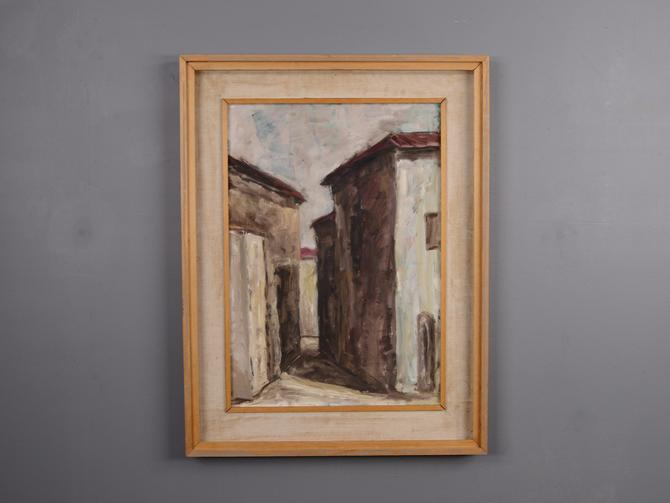 1950's Italian Abstract Painting Village Scene in Muted Colors by MadsenModern