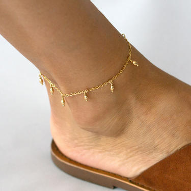 Ankle Bracelet, Waterproof Anklet, Anklet for Women, Dainty Chain Anklet, Delicate Anklet for Women, Satellite Anklet, Beaded Anklet by LEILAjewelryshop