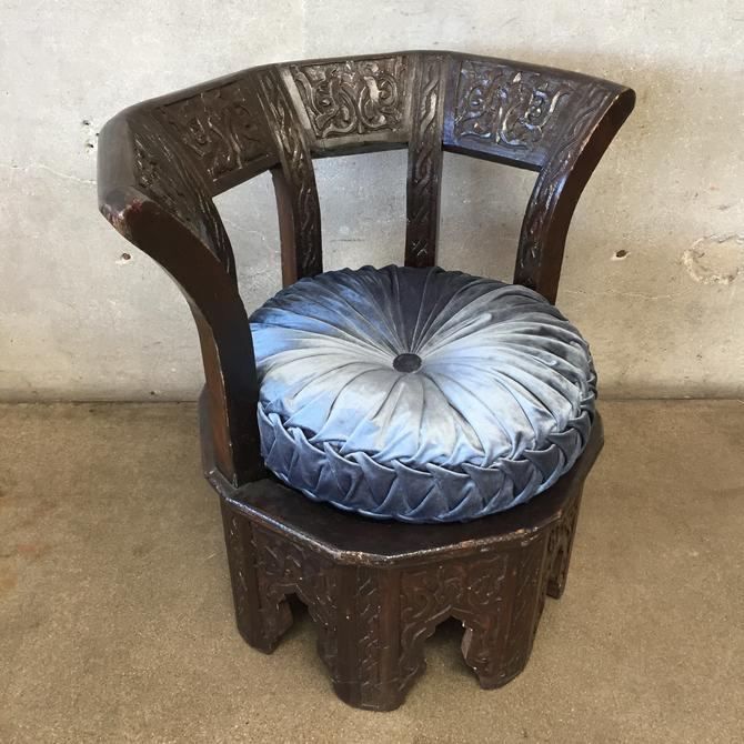Vintage Carved Wood Moroccan Round Chair