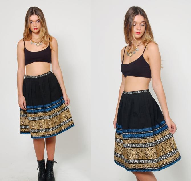 a43c6ce5 Vintage 70s ETHNIC Skirt EMBROIDERED Black Hippie Skirt South American Boho  Festival Skirt Flared Skirt by