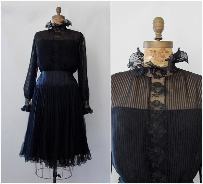 SHEER SPLENDOR Vintage 60s I. Magnin Dress   1960s Black Pleated Chiffon, Satin and Chantilly Lace w/ Ruffles & Bishop Sleeves   Size Medium by lovestreetsf