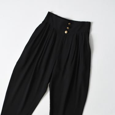 vintage tapered black pants, 90s high waisted trousers, size M by ImprovGoods