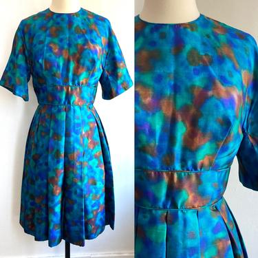 Beautiful Vintage 50's 60's ELECTRIC BLUE Watercolor Print Dress / Miss Elliette / Stained Glass Colors / Bell Sleeves + Box Pleat Skirt by CharmVintageBoutique