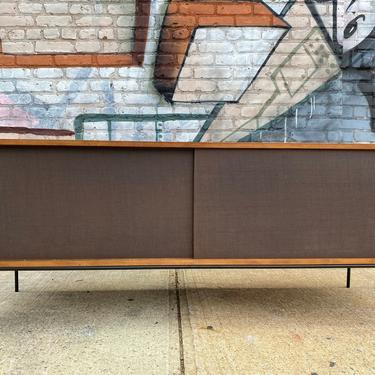 "Paul mccobb mid century modern walnut finish low credenza sideboard dresser Solis maple brown cloth doors on iron legs 60"" by symmetrymodern"
