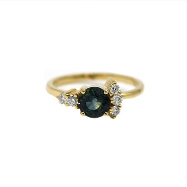 One Of A Kind Teal Sapphire Cluster Ring
