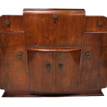 Cocktail Cabinet   Mid Century Art Deco Heron London Burled Walnut Cocktail Sideboard by PickeryPlace