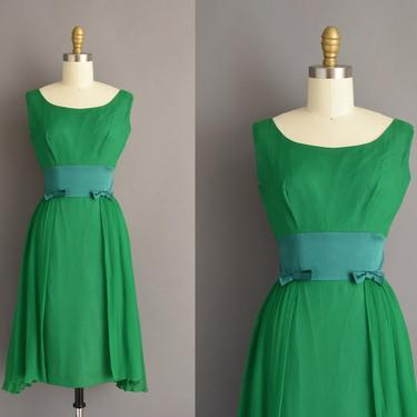 vintage 1950s dress | Gorgeous Kelly Green Chiffon Holiday Cocktail Party Wiggle Dress | Small | 50s vintage dress by simplicityisbliss