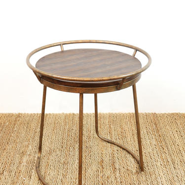 Wood and Metal Round Accent Table