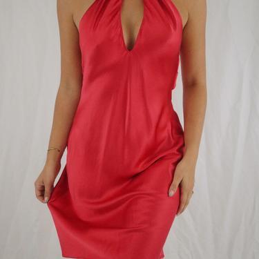 Vintage Red Silk Slip Dress - Keyhole Neckline - Cut Out Back - Victoria's Secret Silk Dress - XS/S by LadyLVintageCo