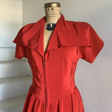 Valentine Red 1940s Zip Front Dress Big Collar Vintage 34 Bust by AmalgamatedShop