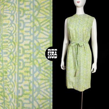 Comfy Cool Vintage 60s 70s Pastel Green & Blue Tiki Style Pattern Sleeveless Sheath Dress by RETMOD