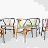 Set of 6 Original Hans Wegner Wishbone Chairs by Carl Hansen & Son