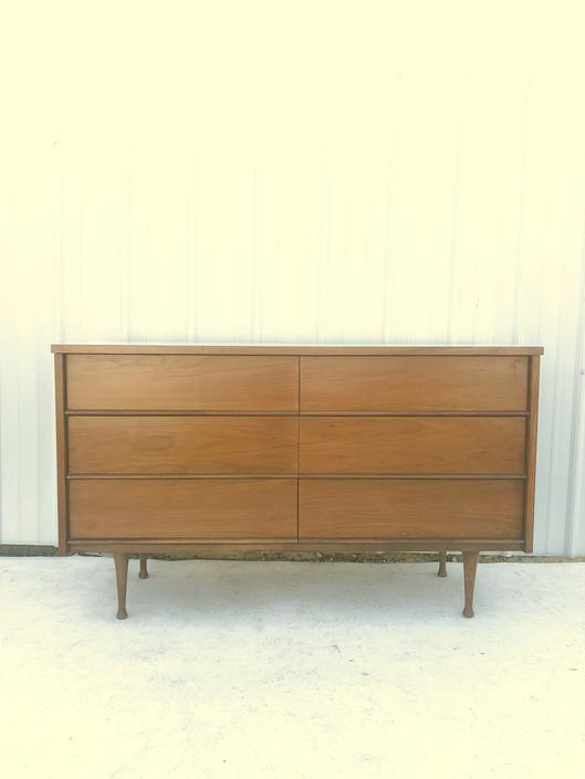 Mid Century Six Drawer Dresser with White Top