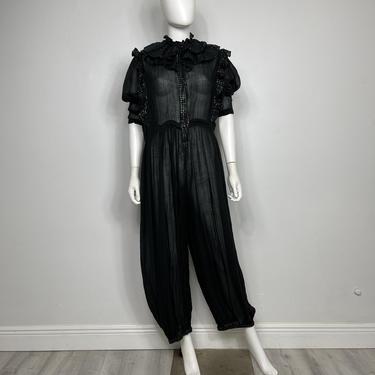 Insane Vtg 70s black India gauze ruffle lurex harem jumpsuit MED/LG by AnimalVintageMiami