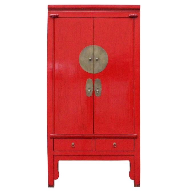 Chinese Distressed Red Tall Wedding Armoire Wardrobe TV Cabinet cs4885S