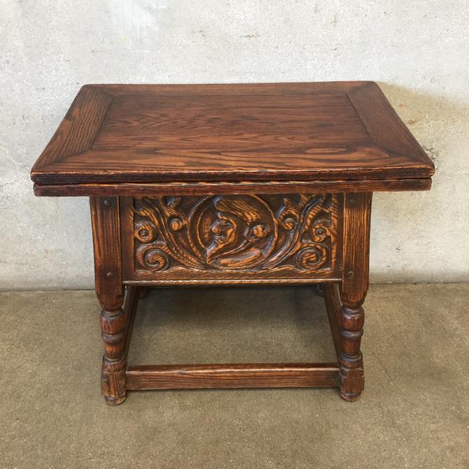 Vintage Oak Convertible Top Table