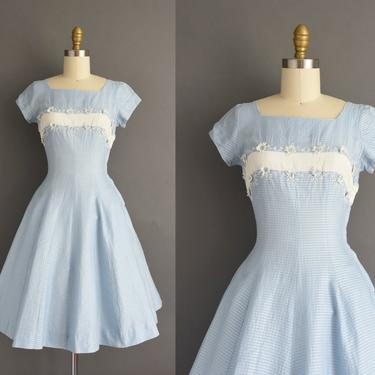vintage 1950s | Gorgeous Toni Todd Periwinkle Blue Short Sleeve Full Skirt Cotton Summer Dress | XS Small | 50s dress by simplicityisbliss