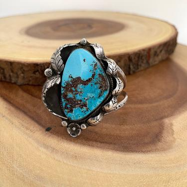 FINE FEATHERS Vintage 70s Silver Turquoise Cuff, 1970s Shadowbox Bracelet Craig Hallmark | Native American Navajo Style Jewelry Southwestern by lovestreetsf