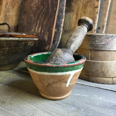 19th C Rustic French Pottery Mortar, Terra Cotta, Green Slip Glaze, Primitive Handmade, Pistou Bowl, French Farmhouse Cuisine, Damages by JansVintageStuff
