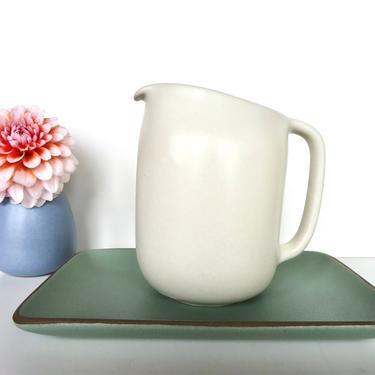 Heath Ceramics Pitcher In Linen, Edith Heath Coupe Line Water Pitcher, Modernist Ceramic Dishes by HerVintageCrush