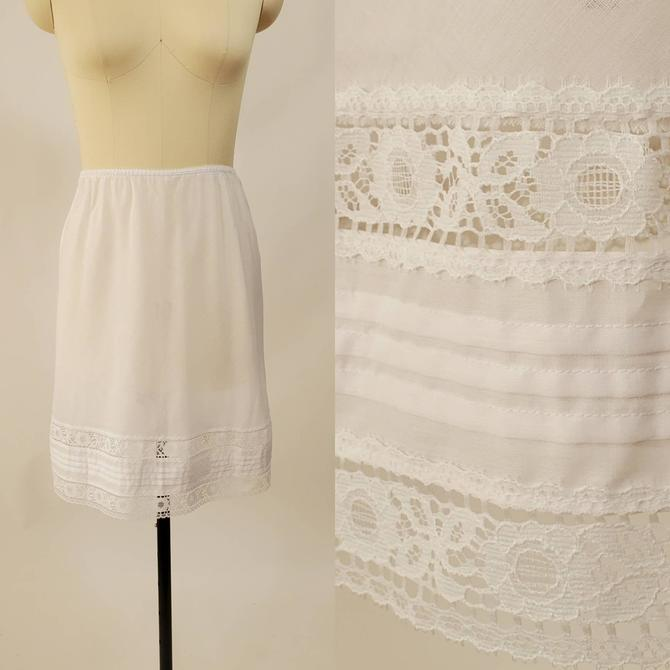 1970s Cotton White Half Slip by Deena 70's Skirt Slip 70s Lingerie Women's Vintage Size by HeySailorNiceVintage