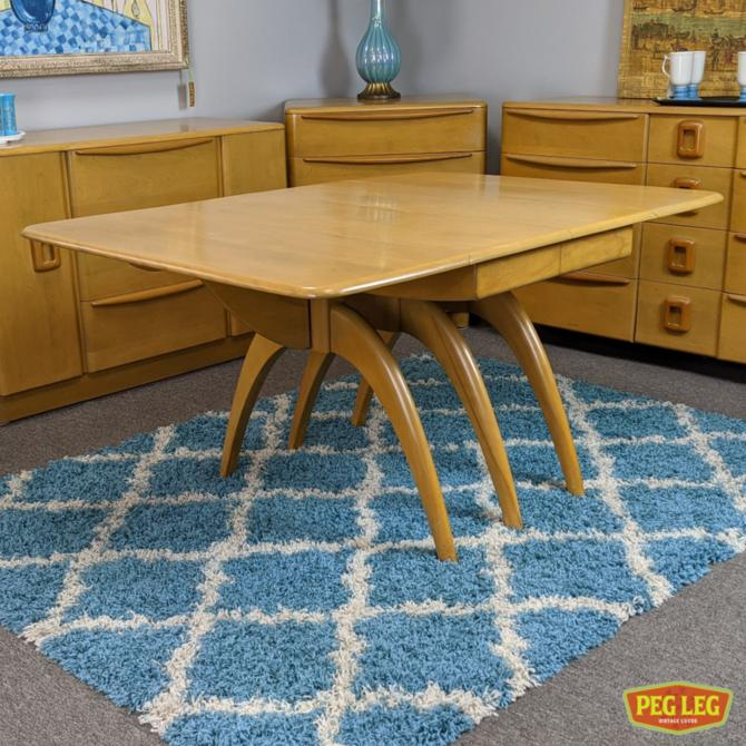 """Wishbone drop-leaf dining table with """"Platinum"""" finish and one leaf by Heywood Wakefield"""