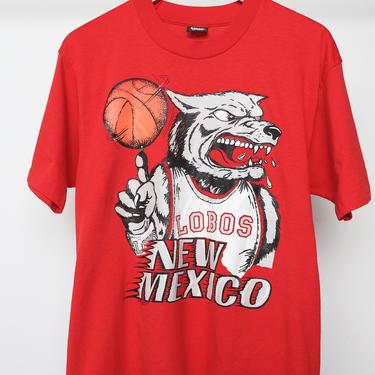 vintage NEW MEXICO red LOBOS vintage basketball 80s 1990s college basketball hoops Albuquerque, New Mexico t-shirt -- size large by CairoVintage