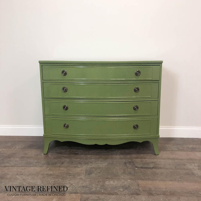 AVAILABLE: Traditional Green Lacquer Dresser by VintageRefinedDecor