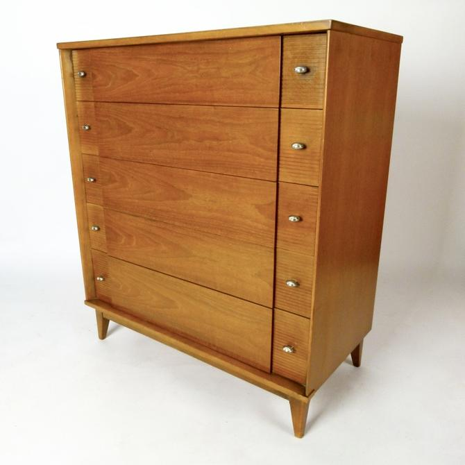 Five Drawer Bleached Walnut Tall Chest