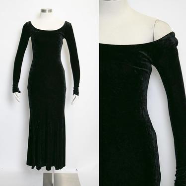 1990s Betsey Johnson Dress VELVET Black XS by dejavintageboutique
