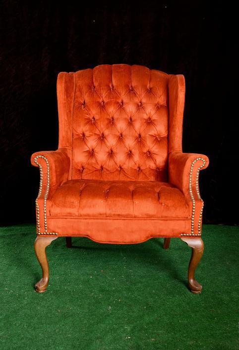 vintage burnt orange velvet wingback armchair by fingerlickingvintage
