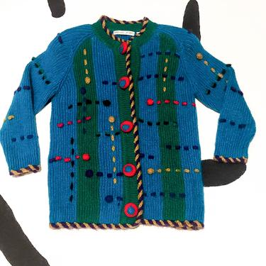 90s Michael Simon Oversize Chunky 3D Knit Abstract Plaid Cardigan / Mohair / Turquoise / Sweater / Rope / Dots / Cartoon / Novelty / Large by badatpettingcats