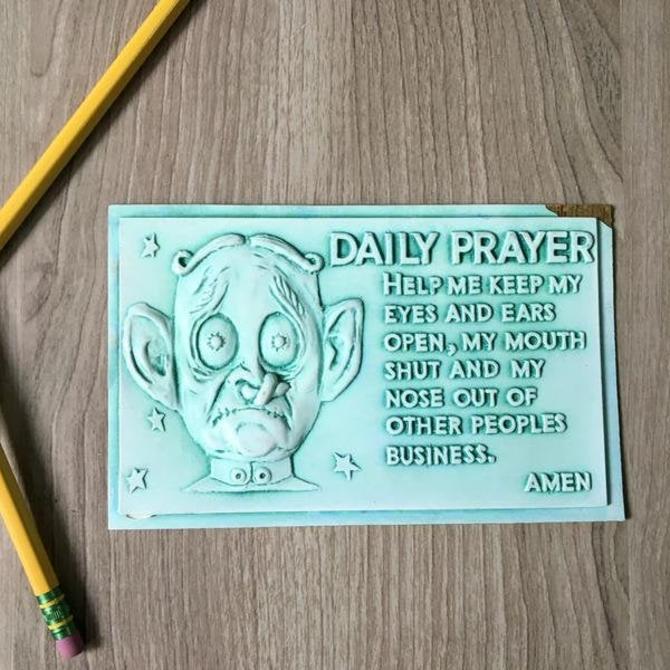Daily prayer kitsch postcard - Postplax by Eden Plastics Corp - 1958 molded plastic postcard by NextStageVintage