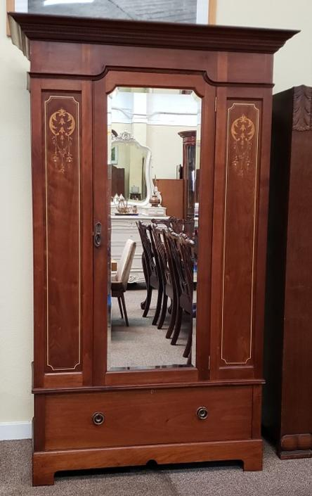 Item #R124 Edwardian Armoire with Hand Cut Inlay c.1910