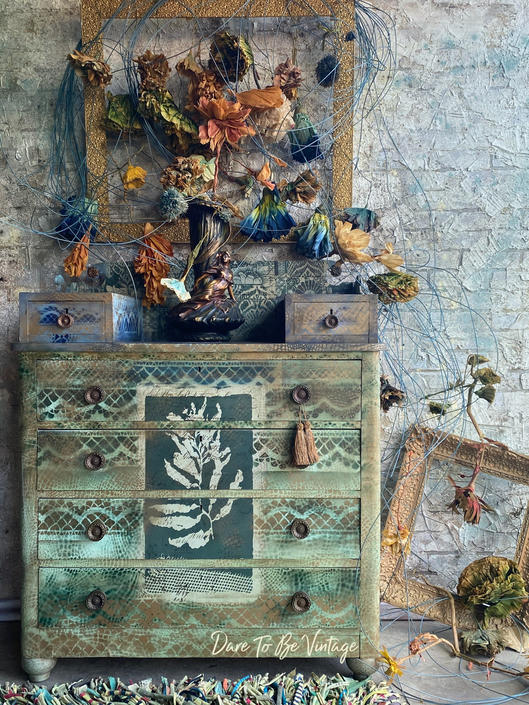 Bohemian Painted Dresser ' Green Goddess' - Vintage Hand Painted Dresser - Boho Style Dresser - Painted Furniture by DareToBeVintage