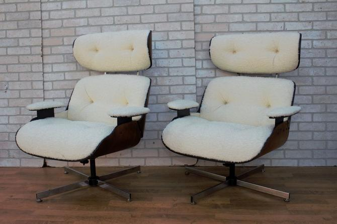 Mid Century Modern Eames Style Plycraft Lounge Chairs - Pair