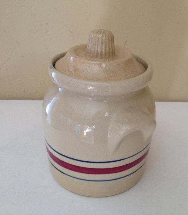 VintageYellow Ware Striped  Canister Jar, Roseville Pottery RRP USA Dark Red and Blue Stripe by JoAnntiques
