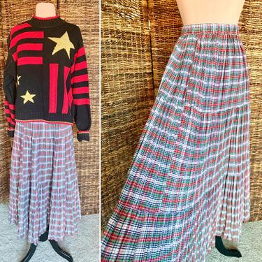 Vintage Cotton Plaid Maxi Midi Skirt, Tiny Pleats, Tiers, Pleated, Elastic Waist, Size M by GabAboutVintage