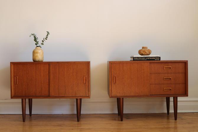 Pair of Mid Century Danish Modern Small Teak Cabinets by SharkGravy