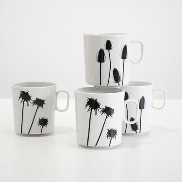 block langenthal black & white porcelain cups, naomi savage block langenthal cups, 1976 block langenthal cups, midcentury porcelain cups by pulpholyoke